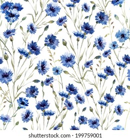 pattern, flowers, cornflower