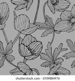 Pattern with flowers and leaves. Vector hand drawn.
