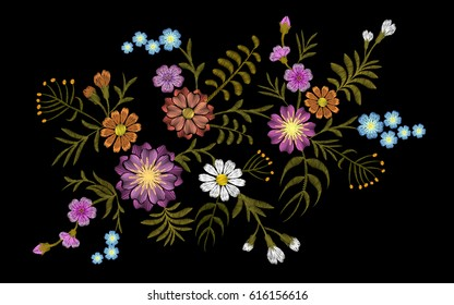 Pattern of flowers on a black background. Imitation embroidery. Chamomile, forget-me-not, gerbera, field, seamless patch neckline vector vintage illustration