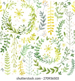 Pattern of flowers painted in watercolor on white paper. Sketch of flowers and herbs. Wreath, garland of flowers. Vector watercolor