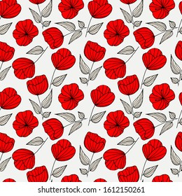 pattern of flowers, poppies black red and white