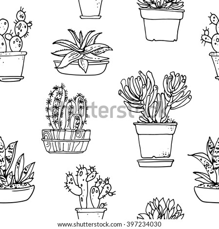 Pattern Flowers Pots Painted Black Line Stock Vector Royalty Free
