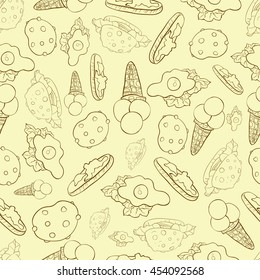 A pattern with food on the beige background.