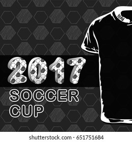Pattern for football championship with t-shirt. A hand drawn soccer ball vector pattern. 2017 cup