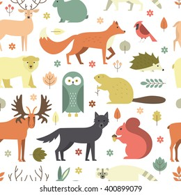 Pattern with forest animals mae in flat style. Fox, bear, wold, squirrel and other mammals on seamless background. Nature and animals pattern.