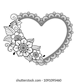Pattern in form of heart for Henna, Mehndi, tattoo, decoration -frame. Decorative ornament in ethnic oriental style. Coloring book page.
