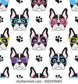 pattern with french bulldogs with glasses