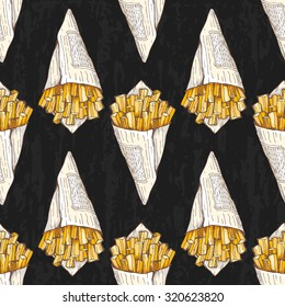 Pattern with french fries on dark grunge background; vector seamless pattern with takeaway french fries