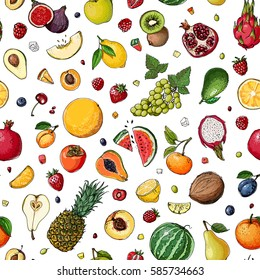 Pattern. Fresh food. Watermelon, cantaloupe, pomegranate, apricot, persimmon line drawn on a white background. Vector illustration.