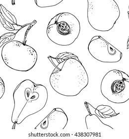 Pattern of fruits drawn a line on a white background. Vector sketch. Sketch line. Apple, pear, peach, lemon, orange, lime