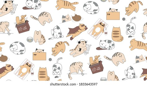 Pattern of funny cats on a white background. Pets listen to music, play with a mouse, hunt, hide in a box, sunbathe, superhero, hide in a box, run, fish, sleep. Animals have different emotions.