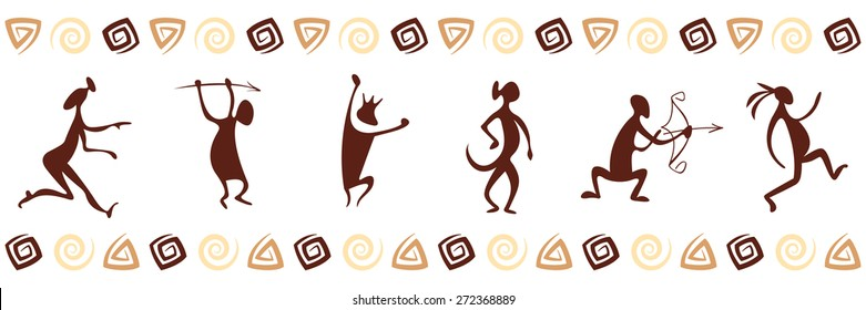 Pattern with funny cave paintings