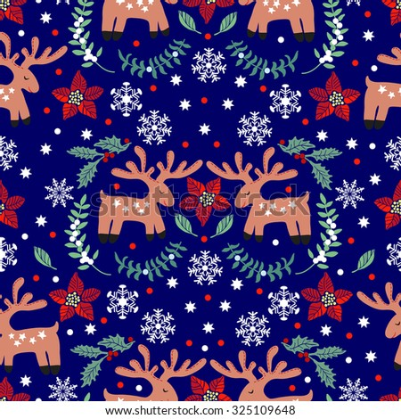pattern with funny christmas deer hand drawing seamless for fabric design gift wrapping - Funny Christmas Wrapping Paper