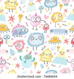 pattern of funny monsters