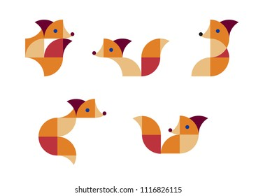 Pattern of geometric foxes. Geometric background. Vector illustration.