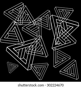 Pattern geometric simple monochrome minimalistic pattern of impossible shapes, triangles