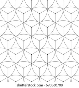 Pattern geometric texture. Seamless vector background with shield elements. Modern black and white simple grid.