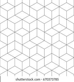 Pattern geometric texture. Seamless vector background hexaganal cube elements. Modern black and white simple grid.