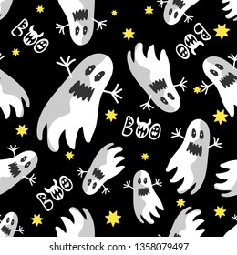 A pattern with ghosts flying and stars on a black background. For Halloween holiday, fabric, textile, backdrop, Wallpaper, wrapping paper.