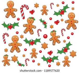 Pattern with Gingerbread, Candy Cane and christmas berry on white background. Happy christmas