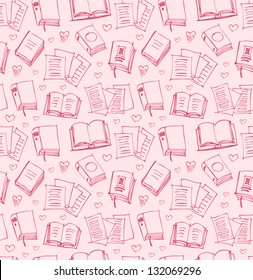 Pattern for girls with books, papers and hearts. Seamless background with sketches of copybooks