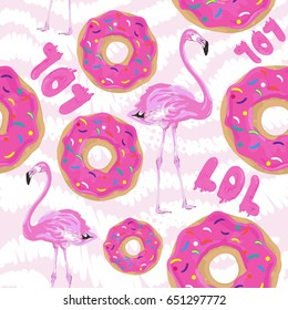 Pattern for girls, Repeating pink background with flamingos, donut, word lol. For fashion, kids clothes, textile, paper, web.