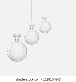 Pattern of glass transparent christmas ball. Elements of Christmas decorations. Transparent object for design, layout. A shiny toy with a silver glow. Isolated object .