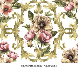 Pattern with Gold baroque swirls, scrolls, damasks and bouquet of flowers,tulip,peony, narcissus on white