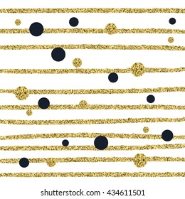 Pattern of gold and black polka dots of different sizes and gold stripes on a white background, vector pattern for flyer, wedding card, invitation, wrapping, textile, web design