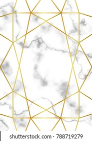 Pattern with gold geometric artdeco element on marble background. Luxury A4 mock up, template for greeting, birthday, valentines cards, posters with text place.