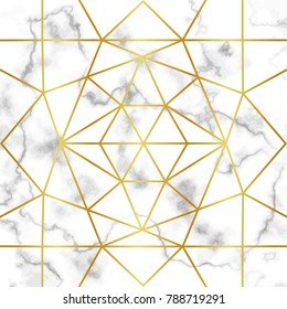 Pattern with gold geometric artdeco element on marble background.