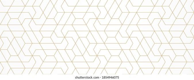 Muster mit goldenen Linien und Polygone auf weißem Hintergrund. Vektor Stilvolle abstrakte geometrische Diamantstruktur für Schmuckdesign. Nahtloses lineares Muster für Gewebe, Textilien und Umhüllung. Moderne Armbanduhr.