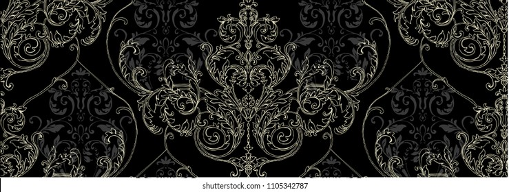 Pattern with gold rococo, baroque element, classic damask, swirls, scrolls on black background with small  scrolls.