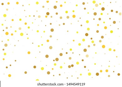 Pattern with Golden glitter, confetti. Gold polka dots, circles, round. Bright festive, festival Background for party invites, wedding, cards, phone Wallpapers. Vector illustration