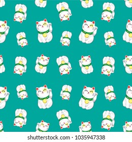 Pattern Good Lucky Cat Character. Vector. illustration