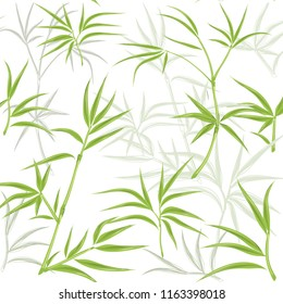 pattern with green bamboo on a white background