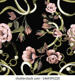 Pattern with green crossing belts pastel roses. Vintage floral sketch seamless pattern on black background. Baroque fabric design. Flowers on belts, nature and art.