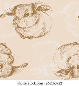 Pattern. Hand drawn bunny . Cute hare with small ears. Easter Bunny.