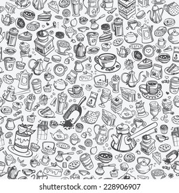 pattern with hand drawn coffee and confectionery, vector
