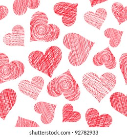 Pattern of hand drawn hearts isolated on white (vector)