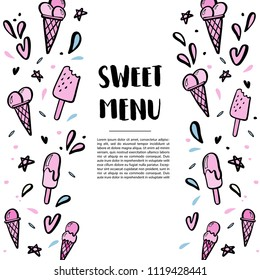 Pattern with hand drawn illustrations of ice cream with space for your text