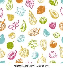 Pattern with hand drawn vector exotic fruits. Tropical fruits, seamless pattern. The most popular exotic plants. Dragon fruit, papaya, starfruit.