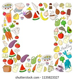 Pattern with healthy food. Cooking class, menu elements for restaurant, cafe. Milk, ice cream, fish, juice, avocado, turkey, carrot, garlic, coffee, tea.