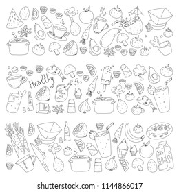 Pattern with healthy food. Cooking class, menu elements for restaurant, cafe. Milk, ice cream, fish, juice, avocado, turkey, carrot, garlic, coffee, tea