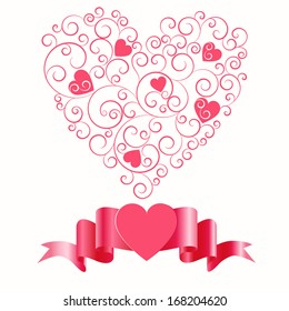 Pattern with hearts by St. Valentine's Day,vector eps 10