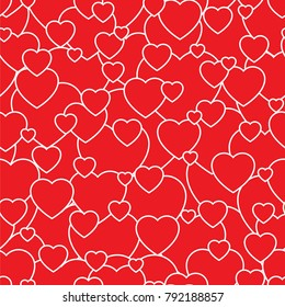 Pattern of hearts on a red background. St. Valentine's Day. Feast of all loving hearts