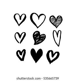 Pattern of hearts vector sketch art for Valentine day design. Marker or felt-tip pen drawing. Romantic symbols set. Love greeting valentines card elements