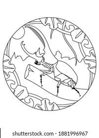 Pattern with Hercules beetle. Mandala illustration of an beetle. Hercules beetle insect in a circular frame. Insect coloring page for kids and adults.