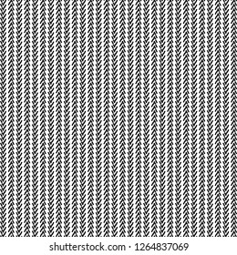 Pattern with herringbone strips alternately inverted. Textile print. Graphics in black and white. Vector illustration.