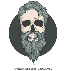 Pattern with hipster skull. Vintage hand-drawing pattern for posts, cards, invitations, flyers, tattoo, t-shirt print.